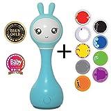 Alilo Intelligente Babyrassel Smart Bunny R1 (Blau) - Edutainment für Ihr Kind - Rassel Spieluhr Babyspielzeug Baby