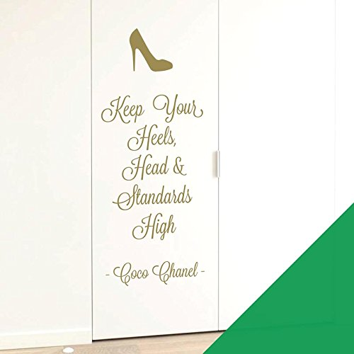 Wall Designer Wandsticker Keep Your Heels, Head & Standards High, Coco Chanel, Cactus, XLarge (415 x 1100mm)