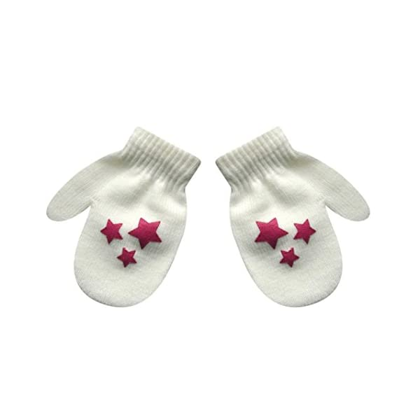 SetMei Infant Baby Girls Boys Cute Star Print Winter Warm Gloves For 1-5 Years old