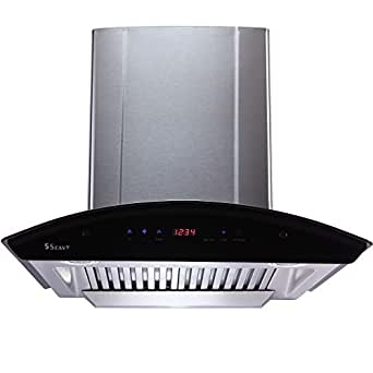 Seavy 60cm 1200 m3/hr Auto Clean Chimney with Free Installation Kit (Ciaz SS 60, 2 Baffle Filter with SS Oil Cup, Touch Control, Steel/Grey)