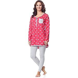 Be-Mammy-Premam-Pijama-Conjunto-Camiseta-y-Leggins-Embarazo-Lactancia-Maternidad-Vestidos-de-Cama-Mujer-BE20-178Rosa-Corazn-Melange-M