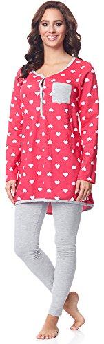 Be Mammy Damen Langarm Pyjama mit Stillfunktion BE20-178, Rosa-Herzen-Melange, M -