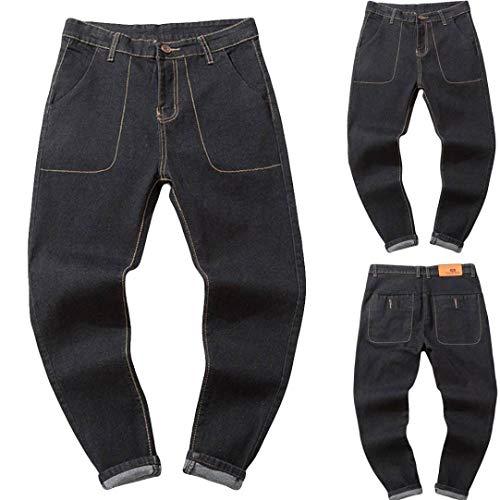 (CICIYONER Herren Beiläufig Herbst Denim Baumwolle Jahrgang Waschen Hüfte Hop Arbeit Hose Jeans Hose)