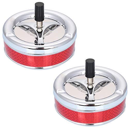 2 Drehaschenbecher Rot Windaschenbecher Groß 13cm | Metall - Windsicher - 3 Ablagestellen | Design Ascher