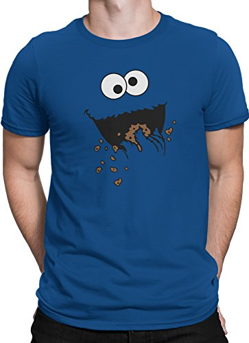Krümelmonster Sesamstraße lustiges Cookie Monster / Premium Fun Motiv T-Shirt XS-5XL mit Aufdruck / Ideales Geschenk, Color:Blau, (Cookie T Shirt Monster)