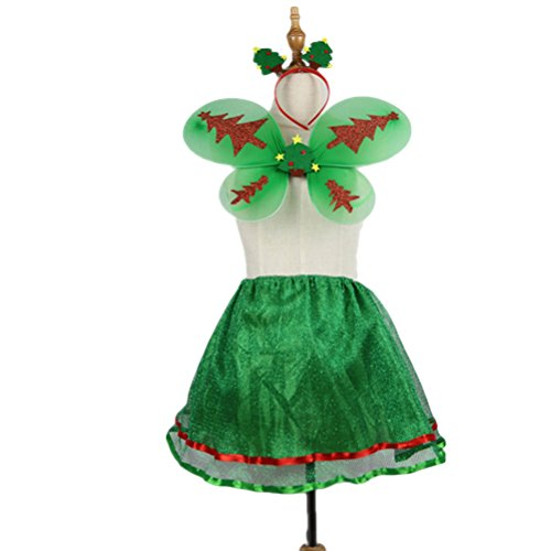 OULII Kostüm Cosplay Set Grün Fee Kostüm Mädchen Kinder Engel Fairy Dress Outfit für Cosplay Party, 3er ()