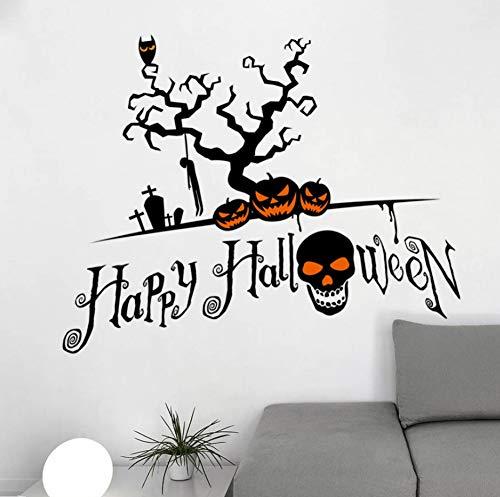 Dokfh Kreative Wohnkultur Happy Halloween Wandaufkleber Scary Erschreckende Kürbis Schädel Muster Für Festival Wandbild Kunst Wandtattoos
