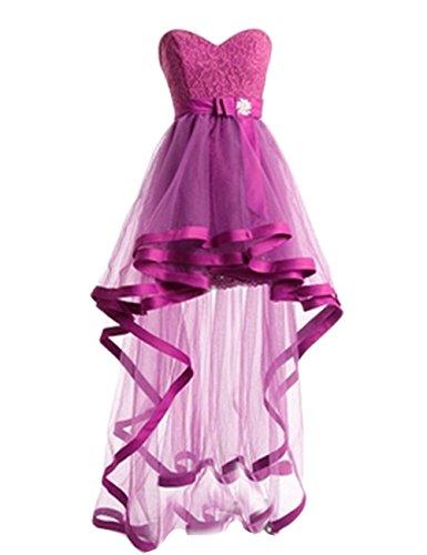Fanciest Damen High Low Spitzen Ball Kleider Kurz Homecoming Party Kleider Mint Fuchsia