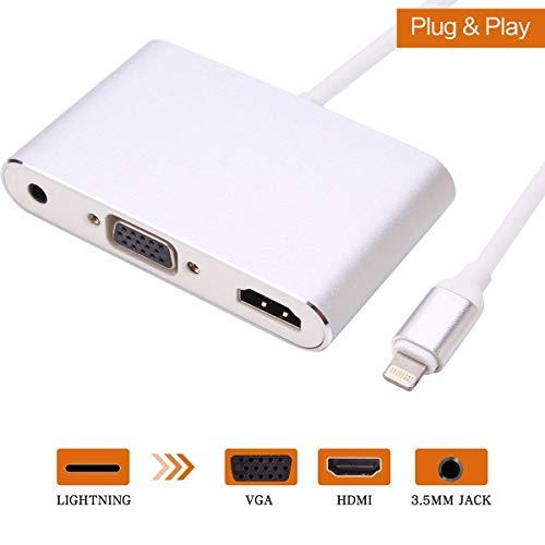 ATETION Light ning zu HDMI/VGA / Audio Adapter Konverter Kabel, 3 IN 1 Light ning 8 Pin zu Digital AV Multiport HDMI VGA & Audio Adapter mit Micro USB Ladekabel + 3,5 mm Audio Port für iPhone/iPad