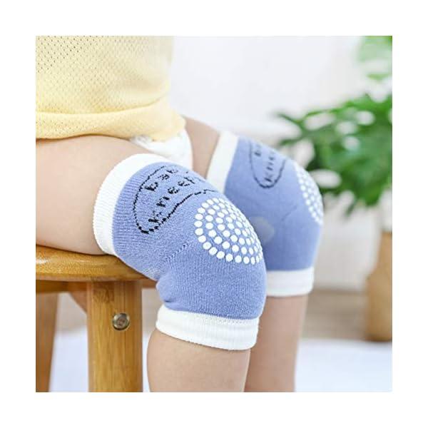 Bozaap - Rodilleras Antideslizantes para bebés y niños pequeños, Rodilleras Cortas con Puntos de Goma Azul Azul 3