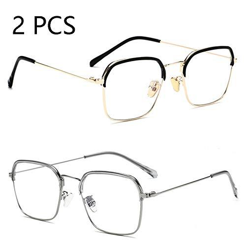 FZXHJ Anti-Blu-Ray-Brillen, Flachbrillen Aus Metall, Brillenfassungen Für Herren- Und Damenmode, Computerschutzbrillen (2 STÜCKE),C1+C4
