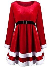 c8bd64690515 VICGREY ❤ Vestito Donna Natale Rosso Velluto Lungo Manicotto Vestiti Donne  Santa Festa di Natale Abito