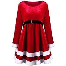 VICGREY ❤ Vestito Donna Natale Rosso Velluto Lungo Manicotto Vestiti Donne  Santa Festa di Natale Abito d0ca8eec900