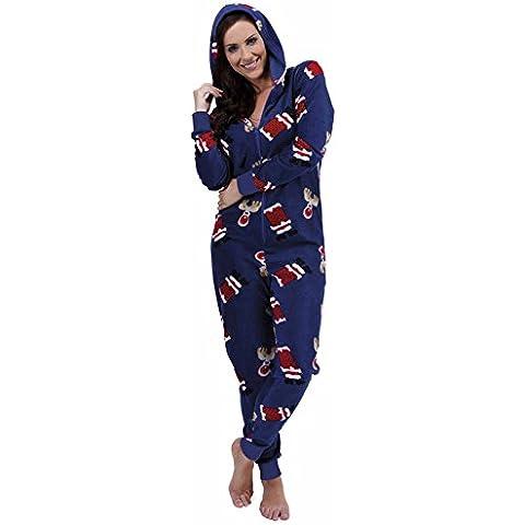 Traje de neopreno para mujer de Navidad luz blanca cálida de forro polar con capucha con texto de pijama Pelele para