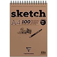 Clairefontaine 96604C - Un bloc à spirale de papier dessin à grain léger Sketch 100 feuilles détachables 21x29,7 cm 90g, Blanc