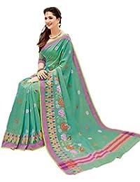 Aarti Apparels Women's Designer Pure Chanderi Cotton Embroidered Saree_Green
