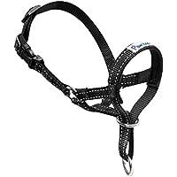 Pawaboo Cabestro de Perro - Adjustable Reflexivo Loop Pet Dog Head Halter de Nilón para Control de Mordida / Ajuste Fácil a la Boca, Talla Mediana, Negro