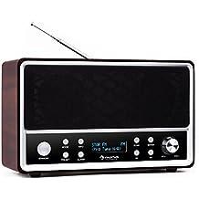 Auna Charleston Radio despertador retro Negro/Blanco (Radio AM/FM y DAB+-, amplias funciones de alarma, elementos de madera, carcasa bassreflex, pantalla LCD, función standby)