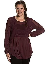 Ulla Popken Damen große Größen bis 64 | Tunika | Blusen Shirt in rot | Stickerei, transparent & Rundhals | Schlitz hinten, Langarm & elastisch | 712173
