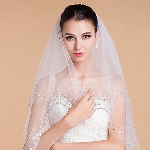 SUYU Abito da sposa matrimonio velo-doppio cuciti perline , white - Velo Abito