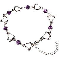Abeillo Plata esterlina 925 Pulsera Doble corazón púrpura Brazalete de cristal para mujeres y niñas