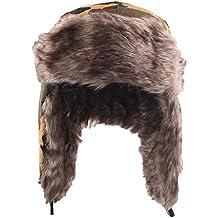 Sombrero de invierno Unisexo Sombrero Ajustable Ruso de Esqui Orejeras de  Peluche Tapa Acolchada Plana para cb48e64d4a6