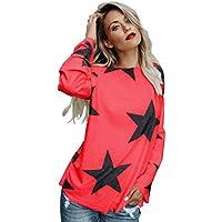 JiaMeng Camisas Mujer, Camisetas Mujer de Manga Larga de Sudadera sin Tirantes de la Estrella Sudadera del Cresta Top