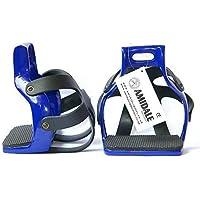 AMIDALE Nuevo Aluminio Resistente Flex Circulación Enjaulado Seguridad Caballo Estribos - Azul Marino, 4.00