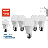 SET di 5 LAMPADINE LED GOCCIA A60 PEGASO,8W 650 Lumen, Attacco E27, LUCE FREDDA 6000K° , Angolo di illuminazione: 230°