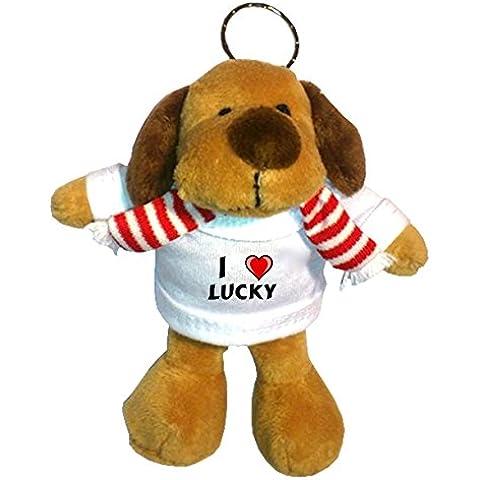 Perro de peluche (llavero) con Amo Lucky en la camiseta (nombre de pila/apellido/apodo)