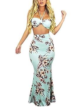 Mujer Conjuntos De Crop Top Y Faldas Largas Verano Elegantes Moda Dulce Lindo Chic Estampado Flores Sin Mangas...