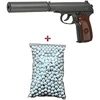 Galaxy Pack Cadeau Airsoft Pistolet Makarov Métal Noir 6mm avec Son Silencieux 0.5 Joule à Ressort 600 Billes Offert ! - G29A