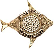 Biswa Bangla Handcrafted Brass Dokra Soap Fish Tray (Multicolor)