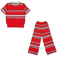 Good dress Bloque de Color de la Raya de Las Mujeres Exfoliating Ice Silk Top + Pantalones Elásticos de Cintura Alta de Punto Conjunto de Dos Piezas, Rojo, Metro