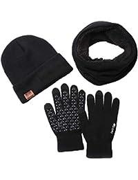 Set de bufanda, gorro y guantes,Warm Knitted Men and Women Winter Bufanda y Gorro Set Thermal Hat & Stretch Touch Screen Guantes Warm Hat Scarves Gloves