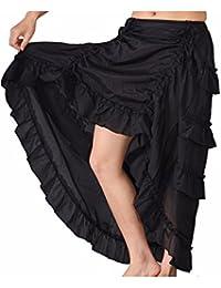 5d4761f3e2 lancoszp Falda de Encaje Cola de Golondrina Steampunk Gothic Vintage para Mujer  Falda Escalonada de Dobladillo