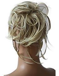 PRETTYSHOP XXL Postiche Cheveux En Caoutchouc Chouchou Chignons VOLUMINEUX Bouclés Ou Chignon Décoiffé blond clair # 24T613 G4D