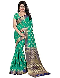 Nirja Creation Women's Green Color Cotton silk Heavy Banarasi Saree