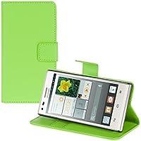 kwmobile Funda para Huawei Ascend P7 Mini - Wallet Case plegable de cuero sintético - Cover con tapa tarjetero y soporte en verde
