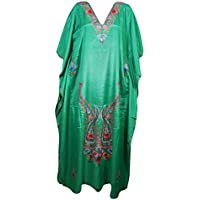 Mogul Interior Womens Kaftan Silk Green Embroidered Evening Dress Caftan XXL
