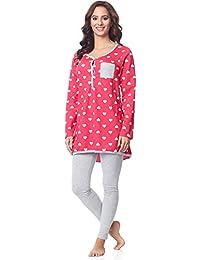 Be Mammy Pijamas con Lactancia Function Manga Larga para Mujer BE20-178