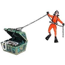 Toyvian Treasure Hunter Diver Action Figure Fish Tank Ornament Decoración del Acuario (Naranja)
