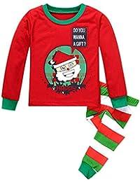 2 piezas Disfraz Navidad Bebe Niño,Navidad y año nuevo Manga Larga Tops y Pantalones,Navidad Regalo para Niños 2-7 años