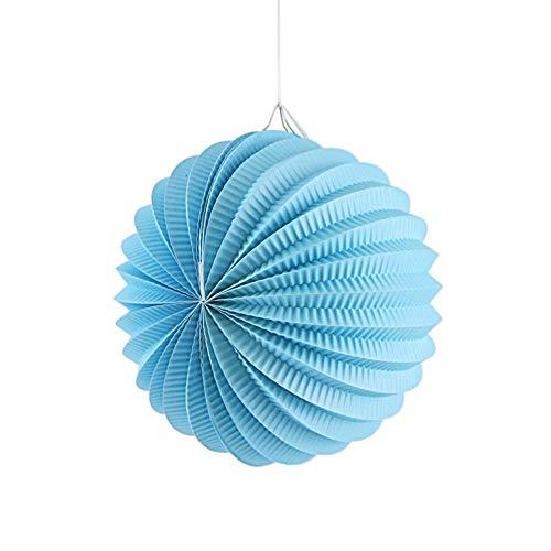 SUNBEAUTY 3er Set Papier Lampions Blau Wassermelone Laterne Deko (19cm, Hellblau)