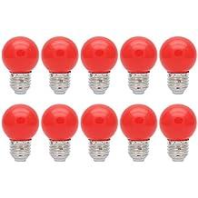 10X E27 Bombilla de Color 1W Bombilla Rojo Color Bombilla LED 100LM Ahorro de Energía Conveniente para Decoración Bulbo Llevado AC 220V