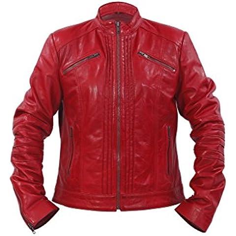 Las señoras el 100 % de la chaqueta de cuero collar Rojo plisado Brando motorista del estilo chino
