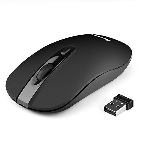 LeadsaiL Wiederaufladbare Funkmaus, Kabellose Maus 2.4G Ergonomische Leise Laptop Maus, ON-Off-Schalter Computermaus, PC Maus mit USB Nano Empfänger, 2400 DPI 5 Einstellbare, USB-Kabel (Black)