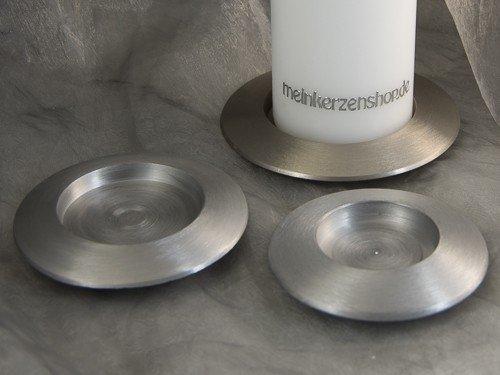 Kerzenteller Kerzenständer Kerzenhalter für Hochzeitskerze Taufkerze silber 16506, Größe:6 cm innen