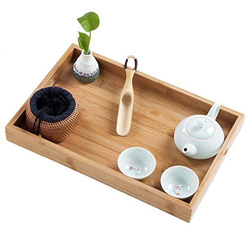 ge Bamboo Serviertablett, Holz Deep Groove Platte, natürliche handgemachte Klassische dekorative Platten, Mehltau Beweis - ideal für Abendessen Tee Tabletts ()