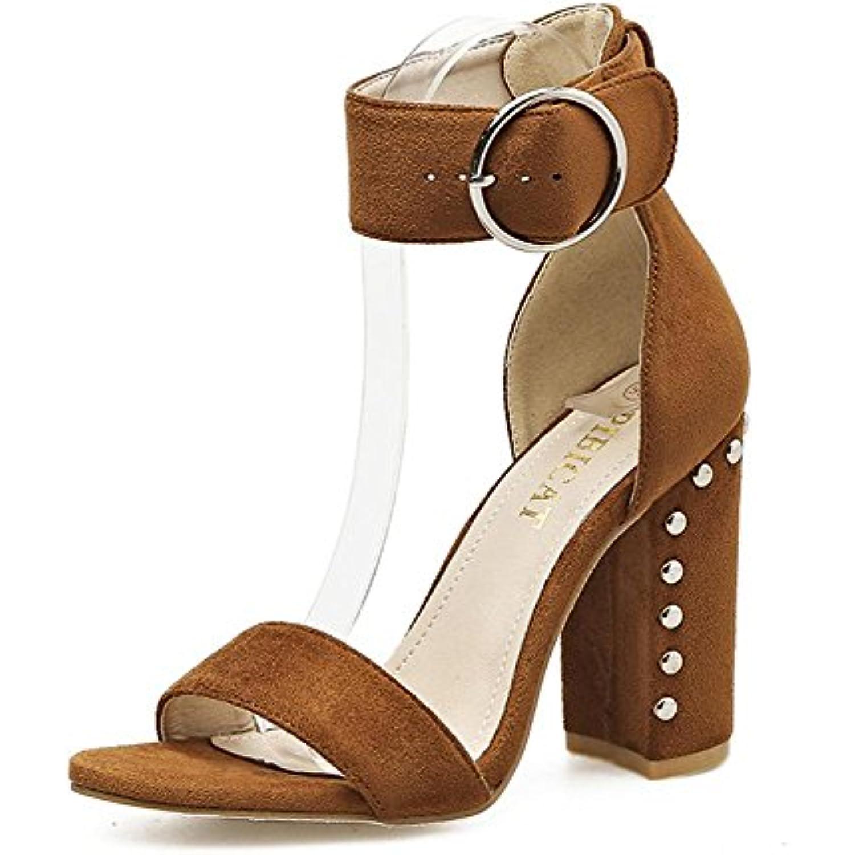 L-XIE L-XIE L-XIE Femmes Sexy Chunky Talon Des sandales Chaussures Suède Cheville Sangle Rivet PiauleHommes t Doigt de pied Noir... - B07CVBCNM7 - a8bcdb